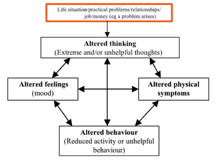 Five Areas  /  DSN.org      [Image Description: A Chart showing the Five Areas. Altered thinking -> altered physical symptoms -> altered behavior -> altered feelings]