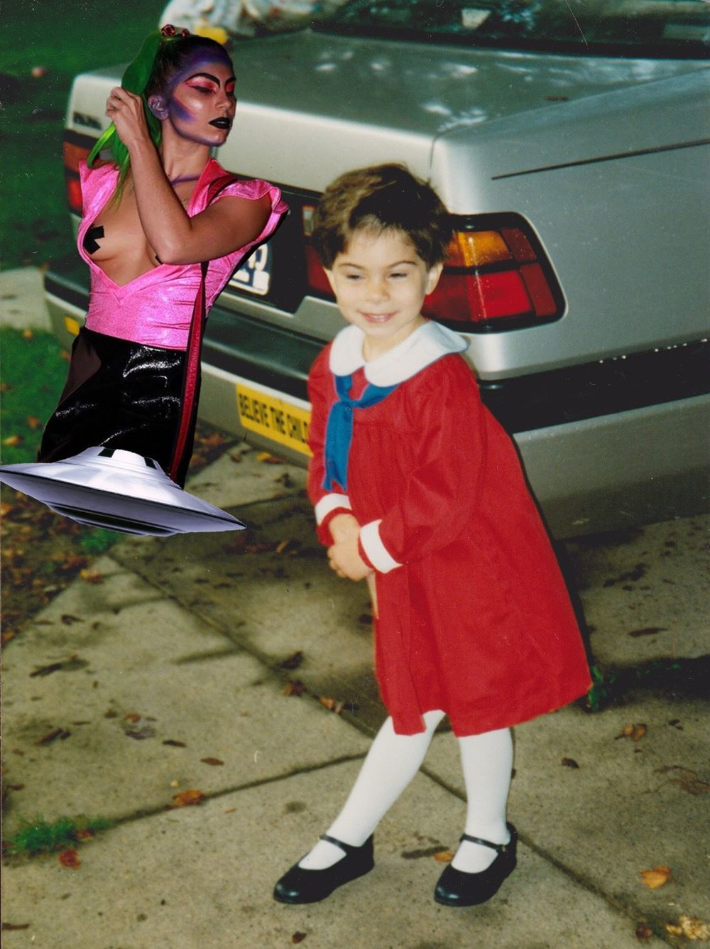 "[Image description: photo collage. A child wearing a red dress stands in a dance pose in front of a silver car with a bumper sticker that reads ""believe the child"". In the upper left corner of the image, an adult with long green hair and dramatic makeup floats atop an UFO.]  Photo credit Gia Gigler"