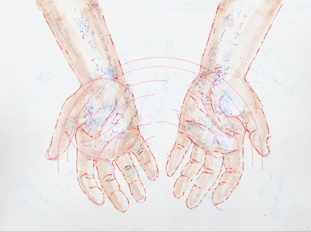 Illustration by Tiffany Gomez.  Tiffani Gomez  is a native Washington, DC artist. You can find her on  Instagram  and  Tumblr .  [Image description:An illustration of open, cupped hands, facing downwards, outlined in red, with hints of circuitboard-like veins peaking through.]