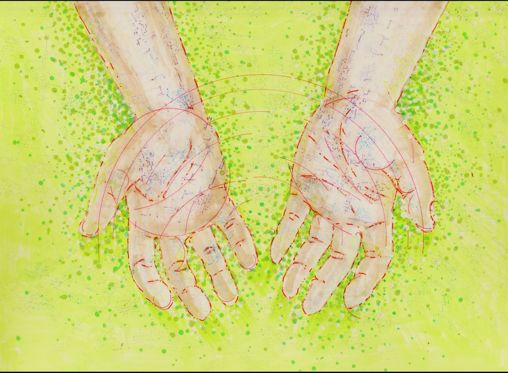 Illustration by Tiffany Gomez.  Tiffani Gomez  is a native Washington, DC artist. You can find her on  Instagram  and  Tumblr .  [Image description: illustration of open, cupped hands, outlined in red, with hints of circuitboard-like veins peaking through. The hands are open over a green field with green dots swirling around them.]