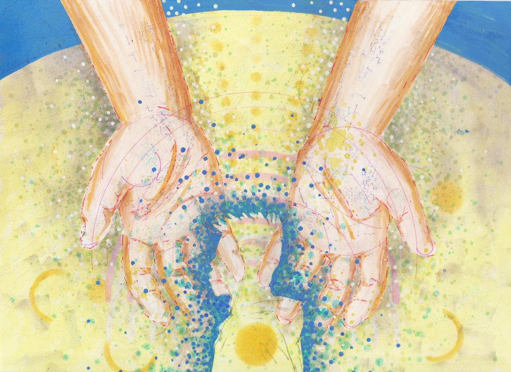 Illustration by Tiffany Gomez.  Tiffani Gomez  is a native Washington, DC artist. You can find her on  Instagram  and  Tumblr .  [Image description: illustration of open, cupped hands with light brown skin and hints of circuitboard-like veins peaking through. The hands are open over a swirling table top covered in dots and patterns, which form the silhouette of a young man in profile.]