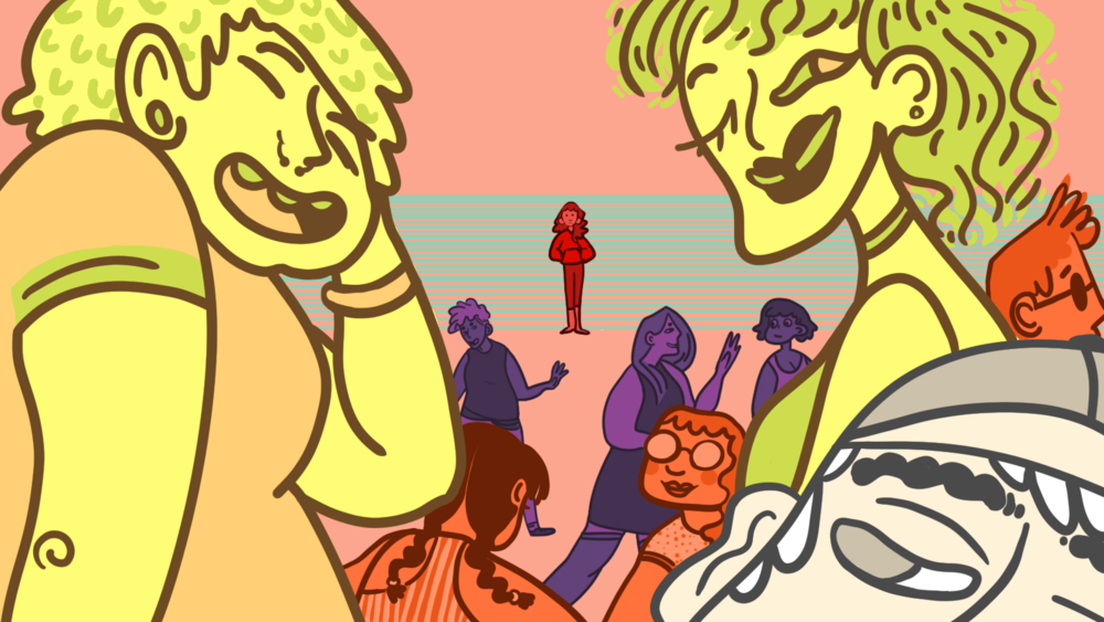 Illustration by Sid Champagne   [Image Description: An illustration of a person standing alone taking in a party or group of people enjoying and socializing around them.]