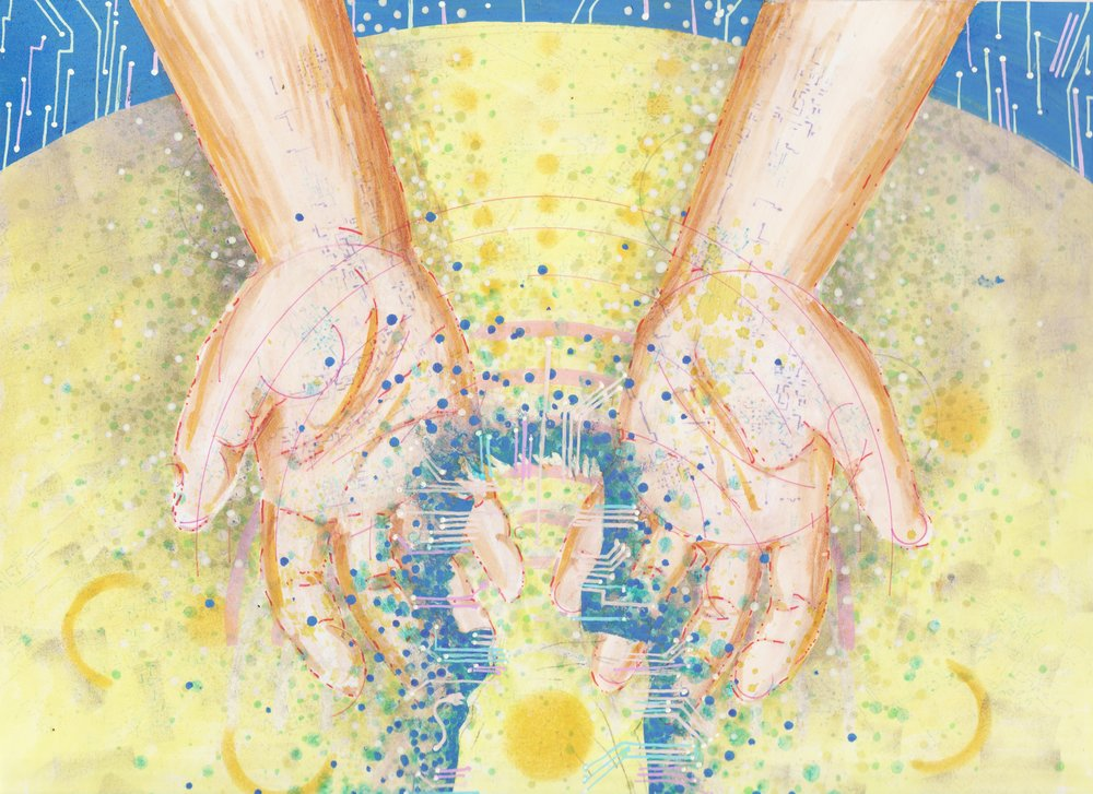 Illustration by Tiffany Gomez. Tiffani Gomez is a native Washington, DC artist.You can find her on  Instagram and  Tumblr .  [Image description:illustration of open, cupped hands with light brown skin and hints of circuitboard-like veins peaking through. The hands are open over a swirling table top covered in dots and patterns, which form the silhouette of a young man in profile.]