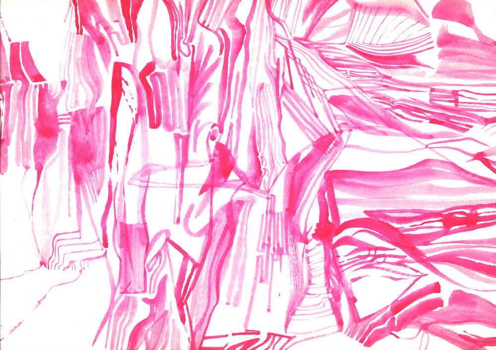 [Image description: abstract watercolour drawing of soft, tangled lines, all in various shades of pink.]  Bowy Gavid Bowie Chan / Creative Commons