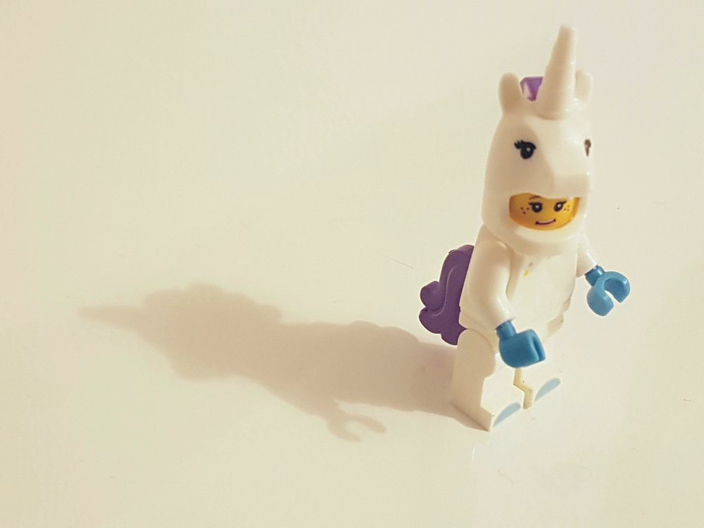 Photo by  Inês Pimentel  on  Unsplash    [Image Description: A Lego figure in a molded unicorn onesie stands solitary against a white background, shadows falling to the left.]