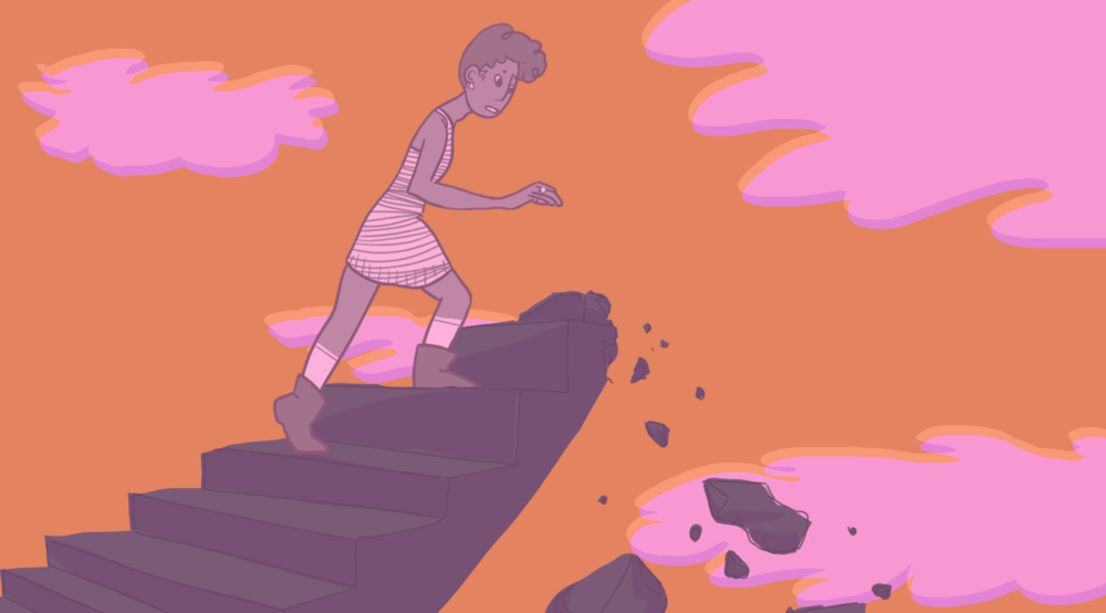 Illustration by Sid Champagne   [Image Description: An androgynous person of colour climbs a staircase into a cloud filled sky; as they ascend the staircase is crumbles beneath them.]