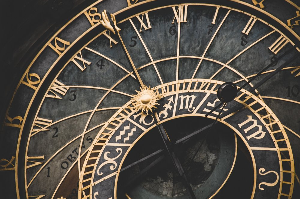 Photo by  Fabrizio Verrecchia  on  Unsplash    [Image Description: A partial view of an old antique clock in black with gold Roman and Arabic numerals.]