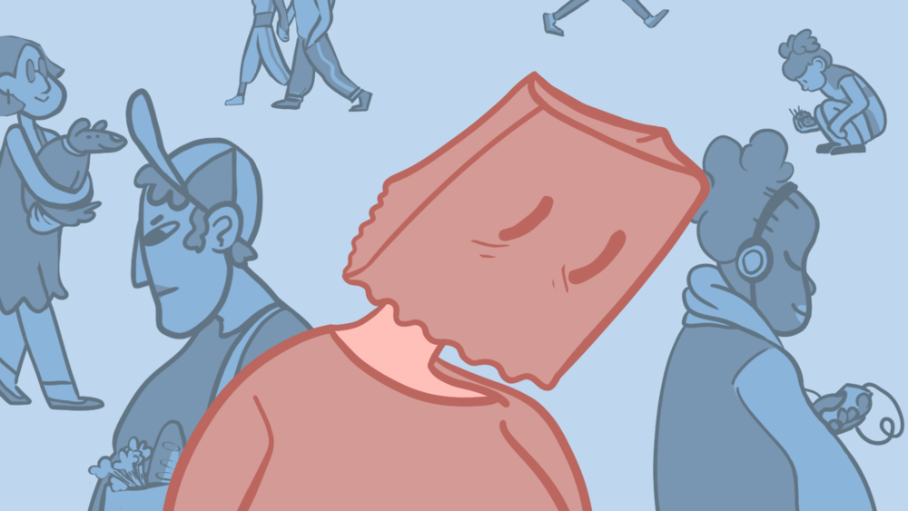 Illustration by Sid Champagne   [Image description: A person stands highlighted in the foreground with a bag over their head; in the background people move around confidently, listening to music, walking their dog, interacting with the world.]