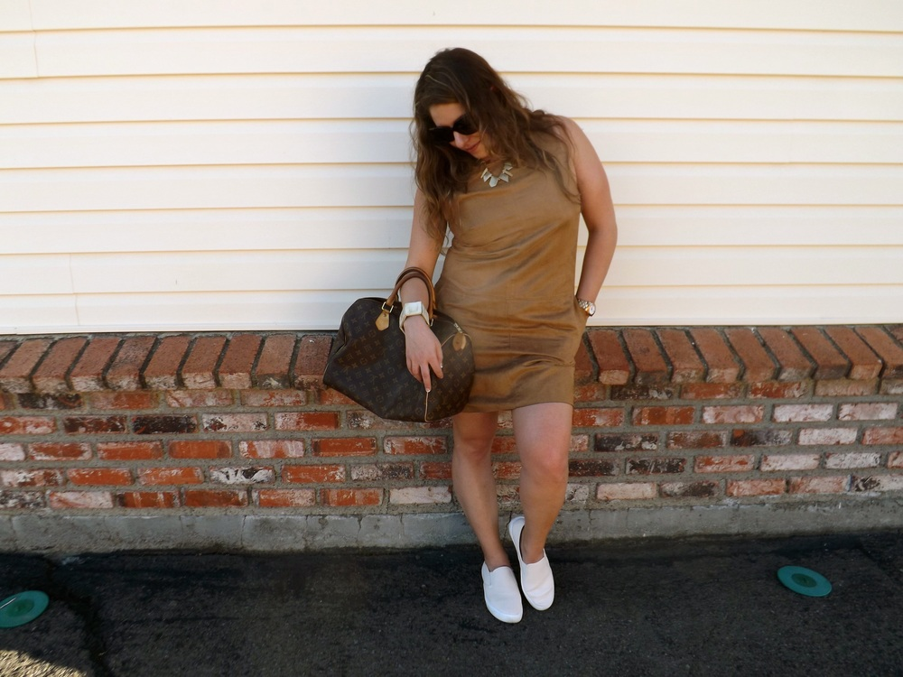 Dress: H&M  (Similar style, SPLURGE HERE and save HERE) Shoes: Gap HERE Bag: Louis Vuitton Speedy HERE Watch: Marc Jacobs HERE Sunnies: Chanel