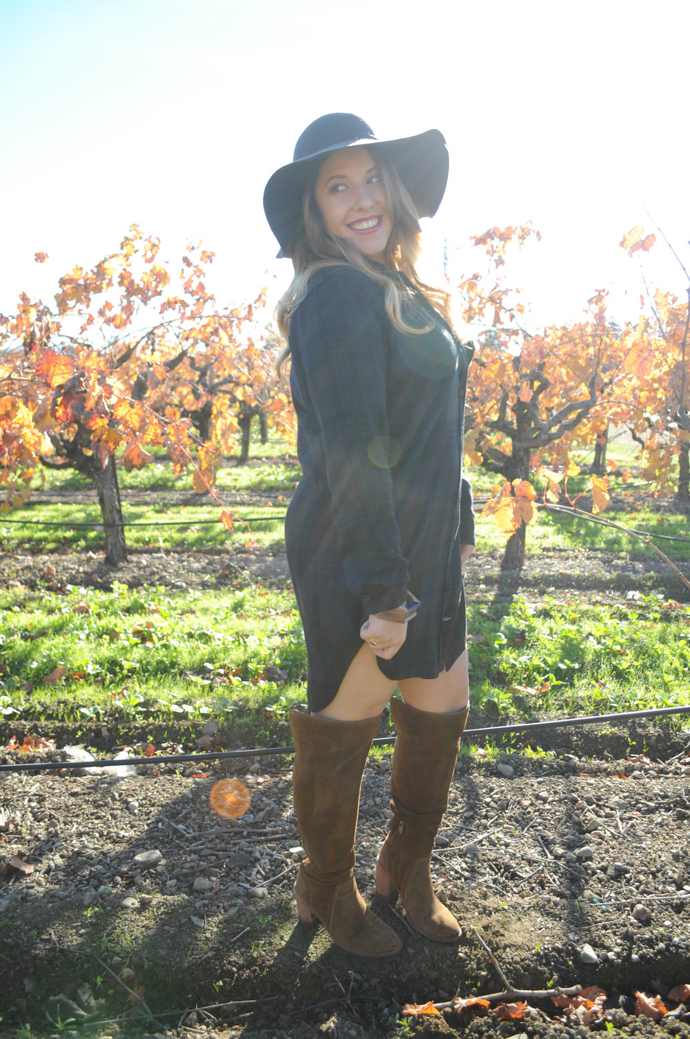 Details// Tay & Grace, Rails flannel tunic, Vince Camuto OTK Boots, Tart hat, Michael Stars scarf, Olive and Poppy Jewels.