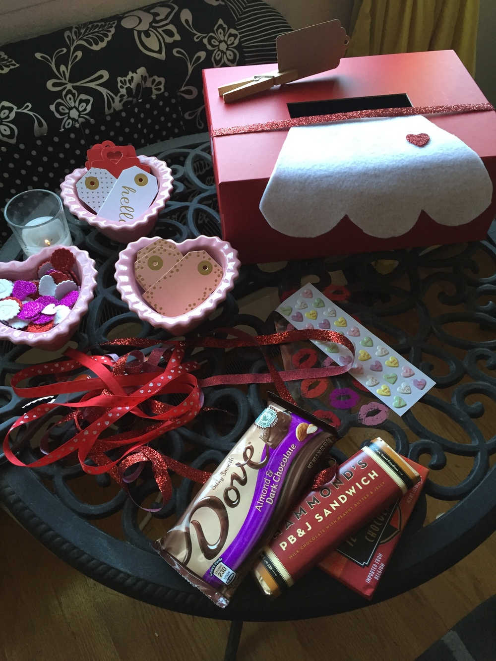 We had each girl bring their favorite chocolate bar, decorate it with Valentine's flair from Michael's and put it in the I Love Lucy apron box. At the end of the party, they reached in and took someone else's valentine to go!