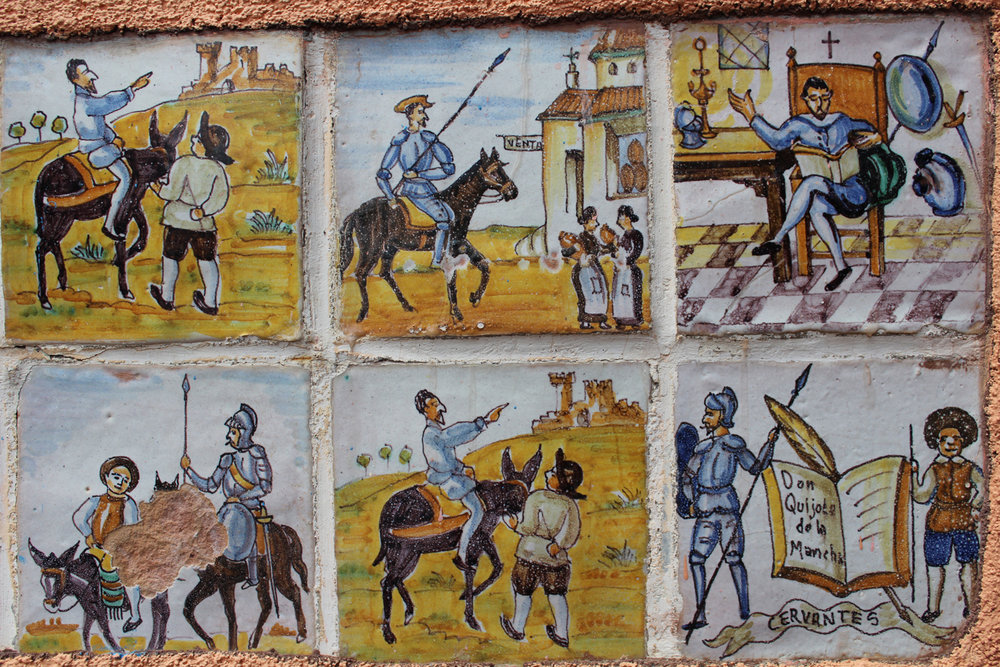 Part of a series of Cervantes-inspired tiles at the Forked Lightning Ranch House, at the Pecos National Historical Park in New Mexico.