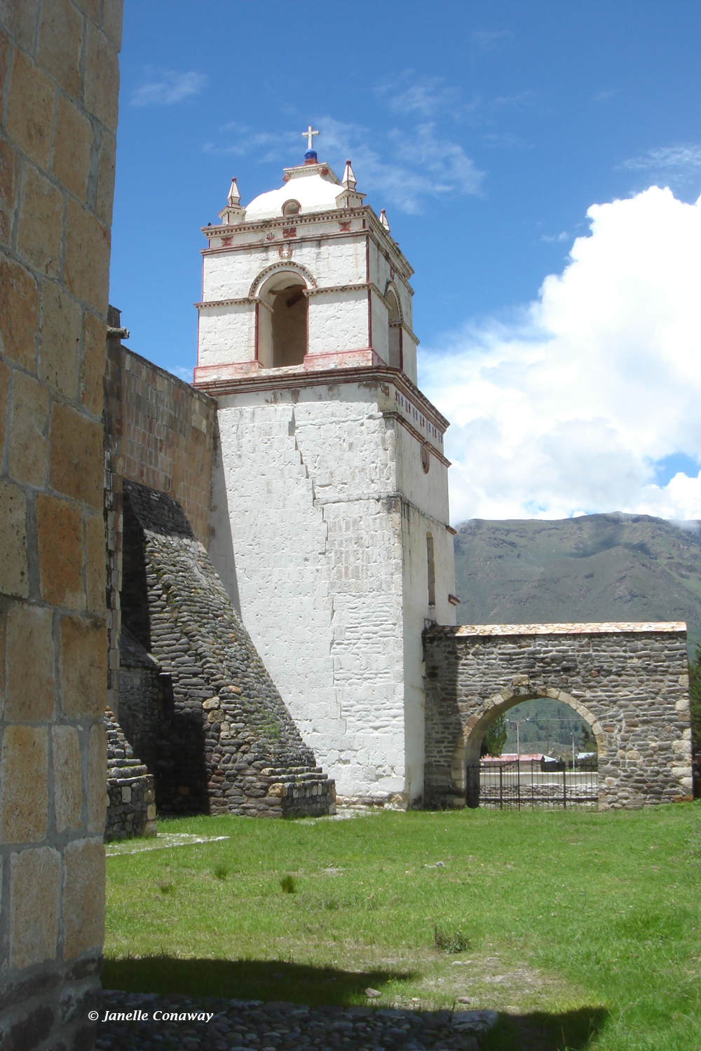 The Maca church (top) was heavily damaged in an earthquake in 1991. In Yanque (middle), it's the close-up view of the facade that's most distinctive, while the bell towers of the massive Lari church are visible from miles away.