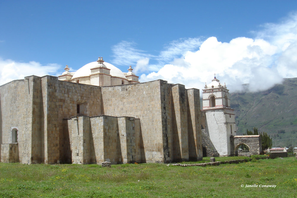"The 1758 church in Lari, the only one in the series built in the shape of a cross, is sometimes called the ""Colca Cathedral"" because of its monumental size."