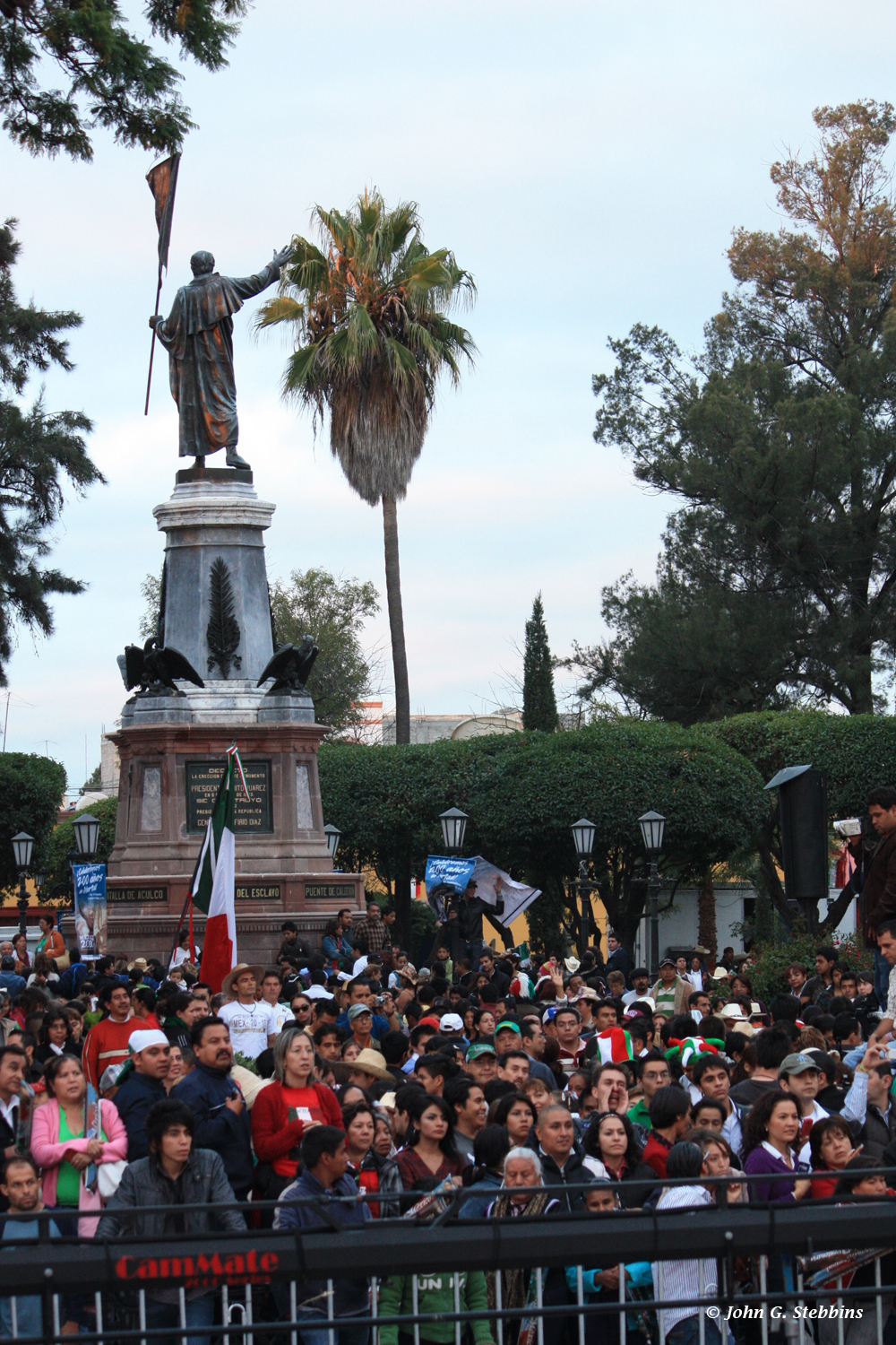 Throngs of people gathered at early dawn in the plaza in Dolores Hidalgo to hear a special rendition of the traditional Grito de Dolores delivered by Mexican President Felipe Calderón (below).