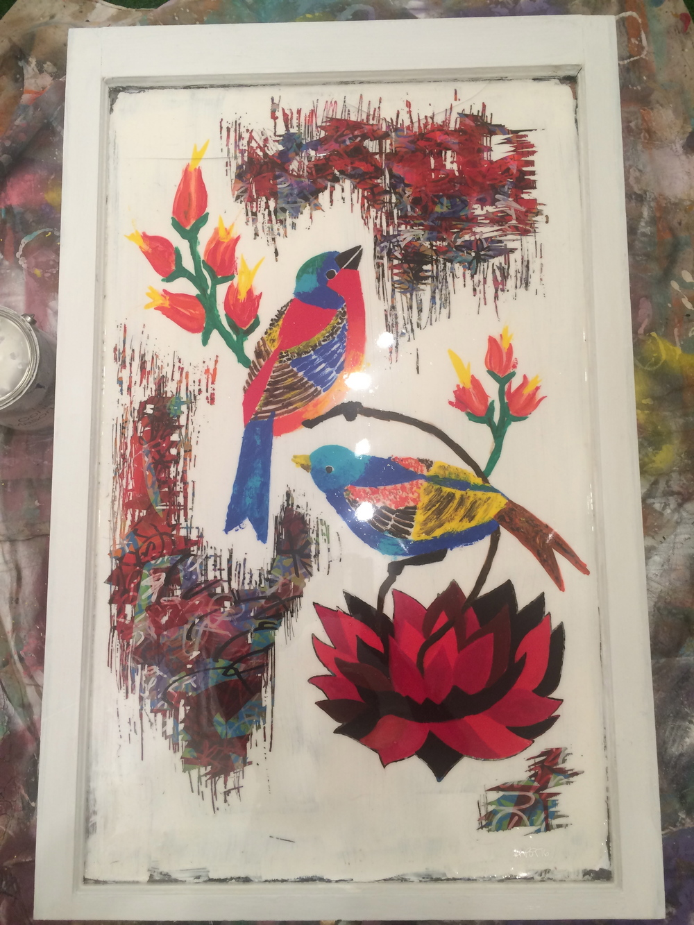 Birds with Red Flower