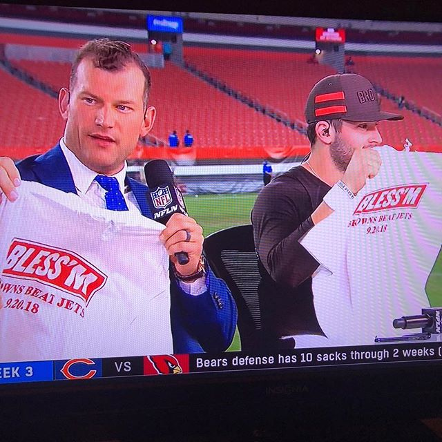 Hey Joe Thomas and @bakermayfield, nice shirts!! Got to print these historic shirts for @foxsports before yesterday's game #inbakerwetrust #browns #superbowl