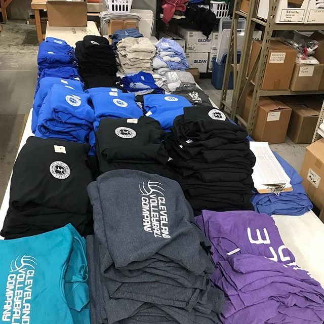 Garments printed and staged ready to be pulled and packed into orders for #clevelandvolleyballcompany Web stores are a great idea to get your school or club some swag! #christmasgifts #screenprinting #nextlevelapparel #bellacanvas