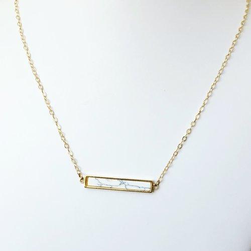 443a8d0df8ee4 Peace Howlite Bar Necklace