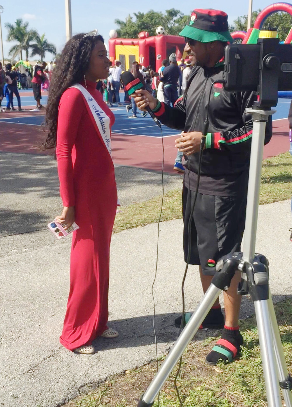 Ms.Jacmel being interviewed by the press