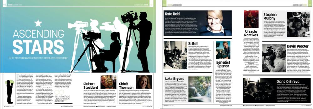 One of 10 European Dps Listed in  Definition Magazine's  Ascending Stars of Cinematography 2018