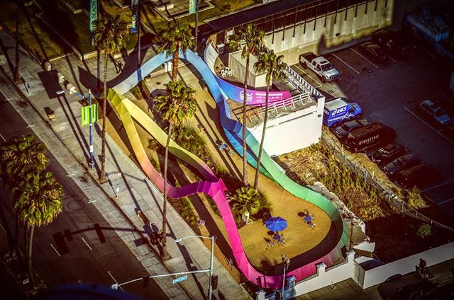 Courtesy of @BrianAddisonLB, from way up above, a new view of #TheLoopDTLB. Whattya think, #LongBeach?