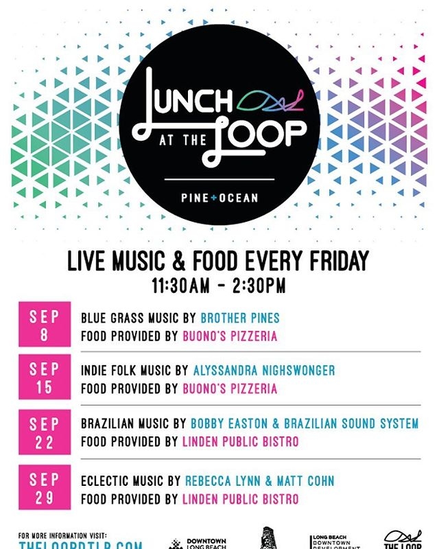 Live music and food every Friday afternoon at the Loop at Pine and Ocean in #DTLB #LunchattheLoop