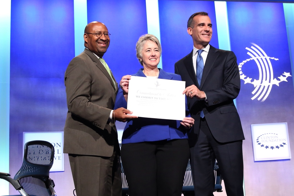 (from left: former Philadelphia Mayor Michael Nutter, former Houston Mayor Annise Parker, Los Angeles Mayor Eric Garcetti)