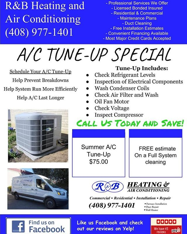 Are you ready for Summer? Don't wait, get your A/C checked in time for Summer. Take advantage of our A/C Tune-up special. Schedule your service today (408) 977-1401 #rnbhvac #summerspecial