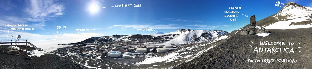 panoramic view of McMurdo Station, Nov 2016