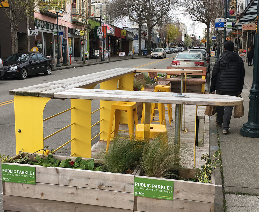 The Parklet on University Avenue near Bulldog News, Seattle, WA.