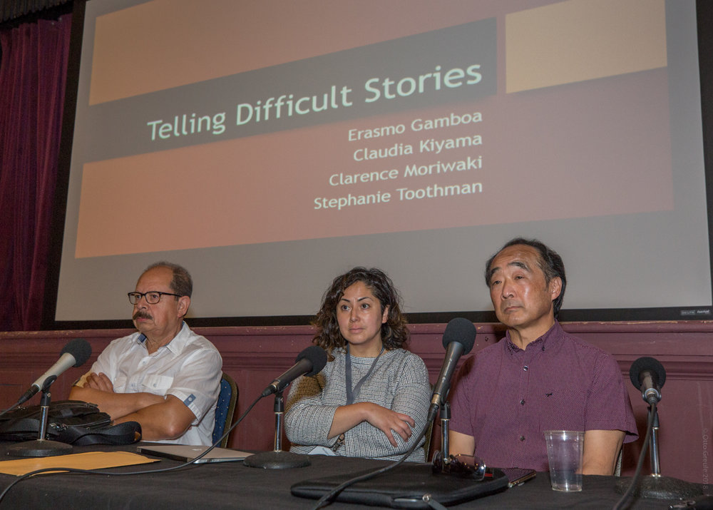 L to R: Erasmo Gamboa, Claudia Kiyama, Clarence Moriwaki listen to a question during the Telling Difficult Stories session.