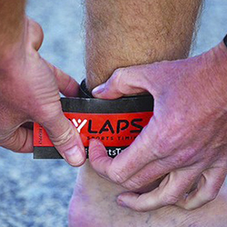 A mylaps multisports tag around a participant's ankle
