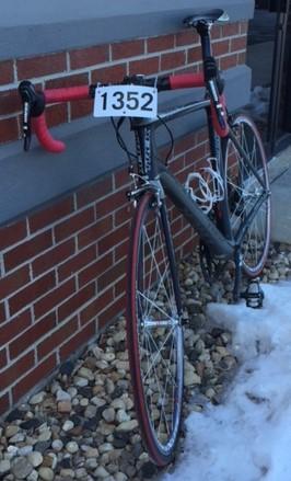 A mylaps bibtag timing chip on a bike