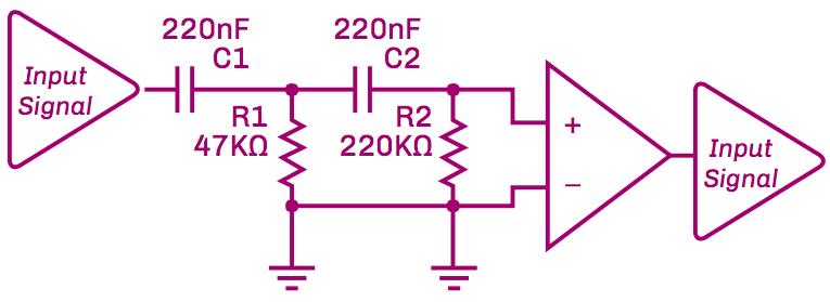 Figure 5: Schematic of 7 Hz High Pass Filter