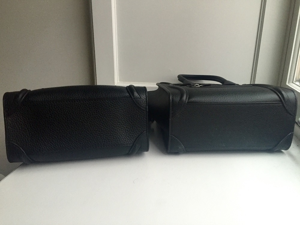 Celine Black Drummed Leather Nano - Fake (left), Authentic (right)