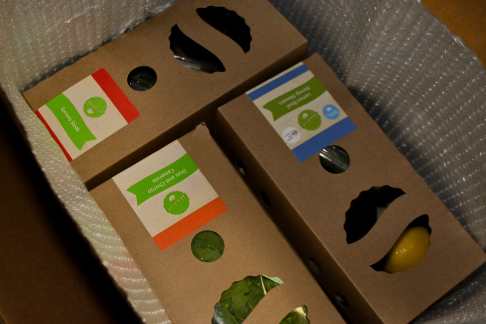 Produce and non-perishables were packaged in light weight boxes.