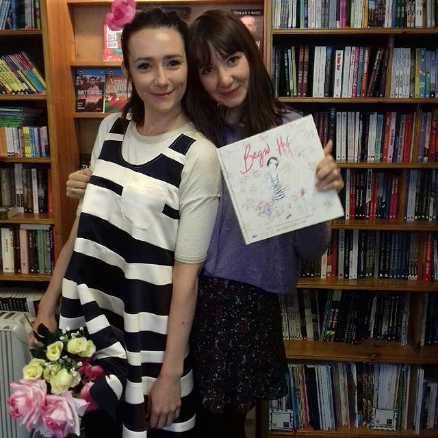 Felicity Elena Haf, writer and illustrator with her book  Begw Haf