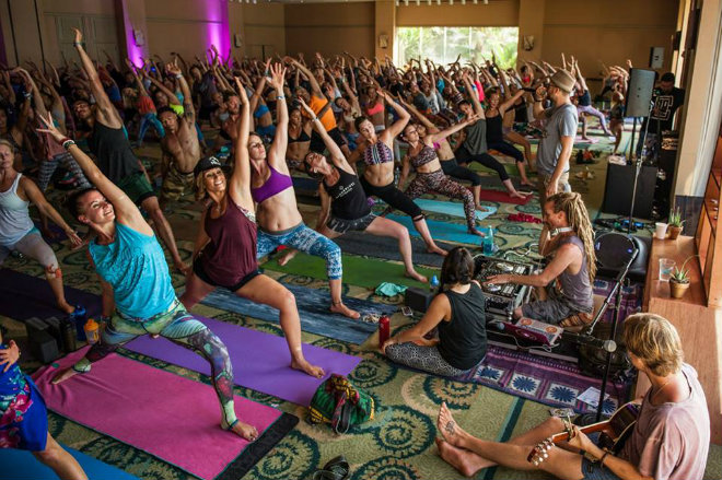 Yoga with a couple hundred in a hotel ballroom. Can you find me? image credit: Wanderlust Festival