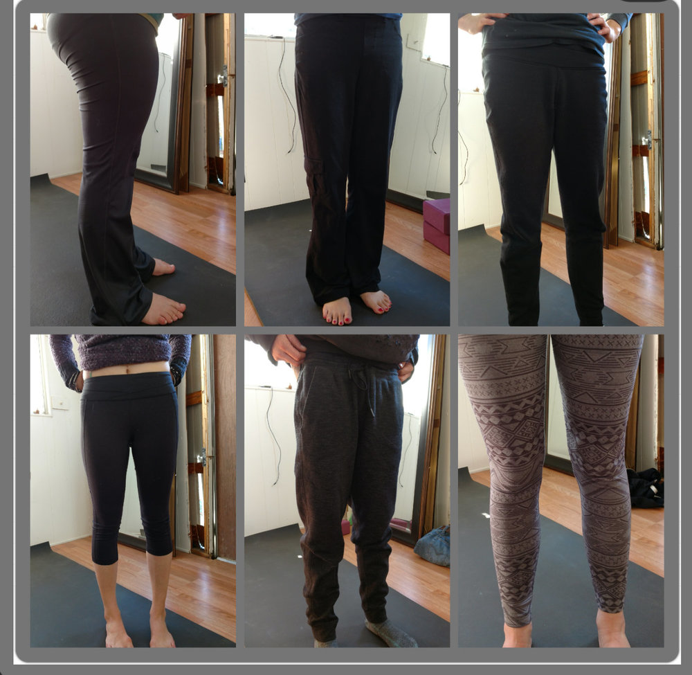 Yoga pants worn by my students. Pics taken on the same day.