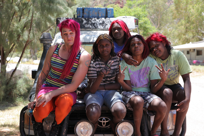 Queen of the Desert, (2012) Starlady with young women from Areyonga (Olivia, Anthea, Caitlin, Chantel) © 360 Degree Film