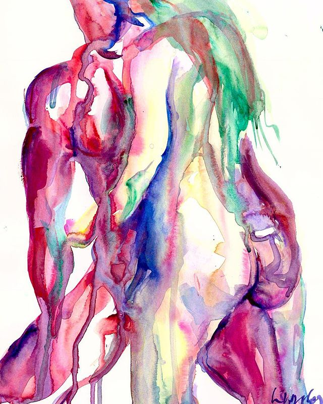 """""""My love feeds on your love, beloved, and as long as you live it will be in your arms without leaving mine."""" ―Pablo Neruda, Sonnet XVII Models: @candyken69 + @thegingerbanks 💜💜 #love #art #watercolorpainting #rainbows #rainbowart"""