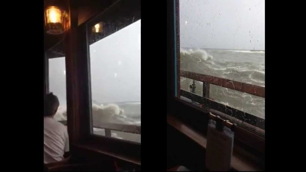 Wave crashes into restaurant