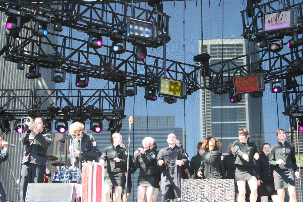 On stage at Lollapalooza with The Polyphonic Spree