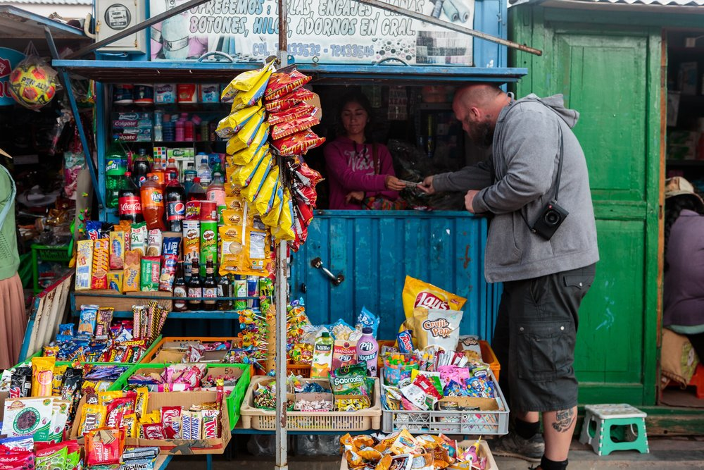 Hitting my head and getting snacks in San Cristobal. Photo by  Brian Stowell