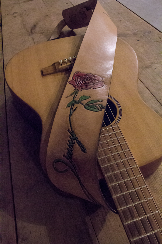 Red Rose Guitar Strap