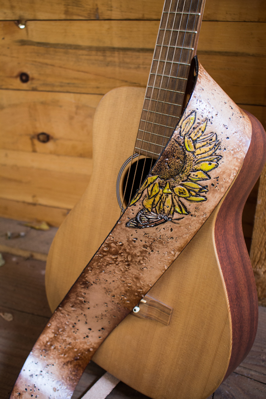sunflower and butterfly guitar strap
