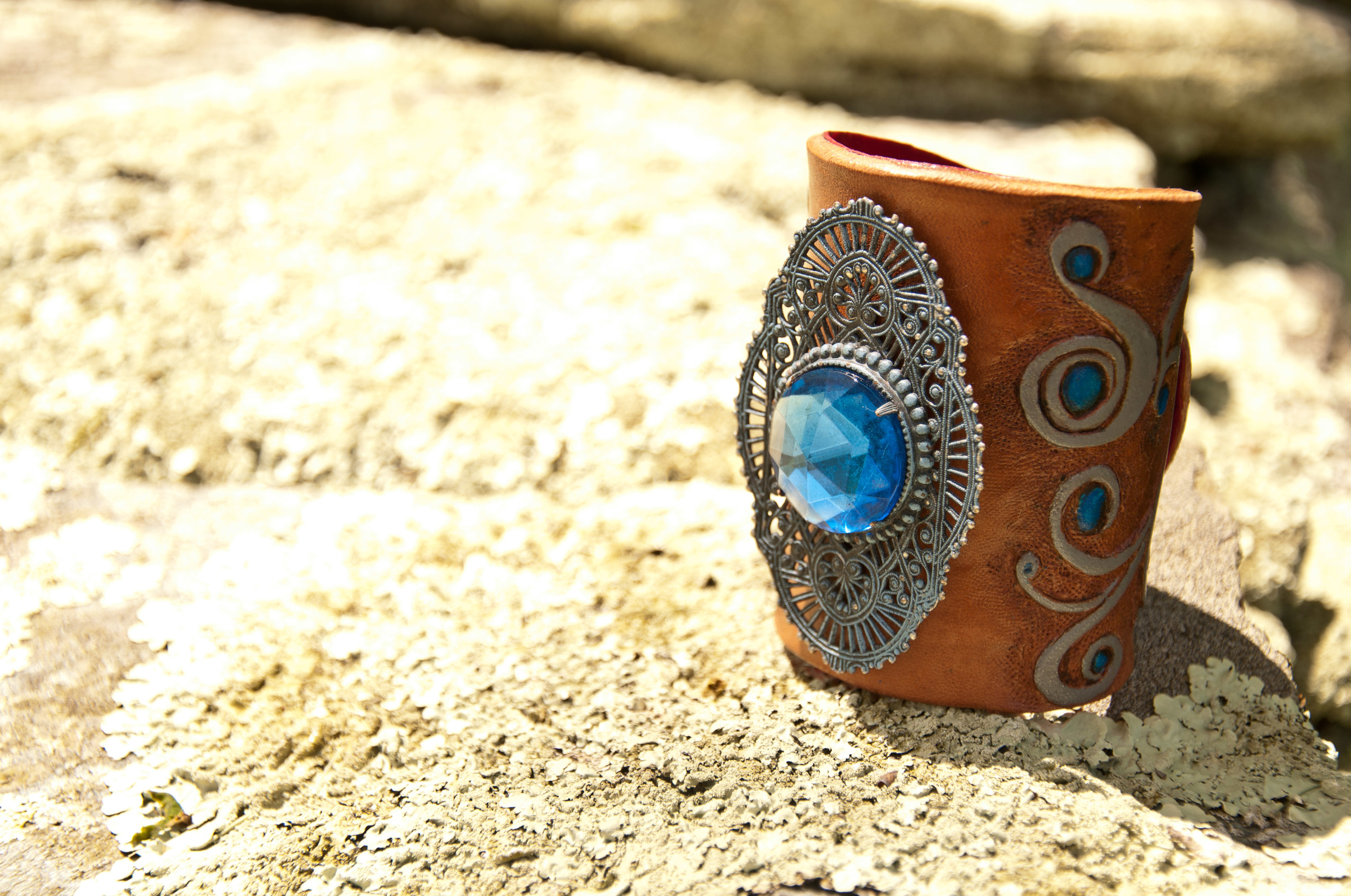 18th century cut glass estate leather cuff