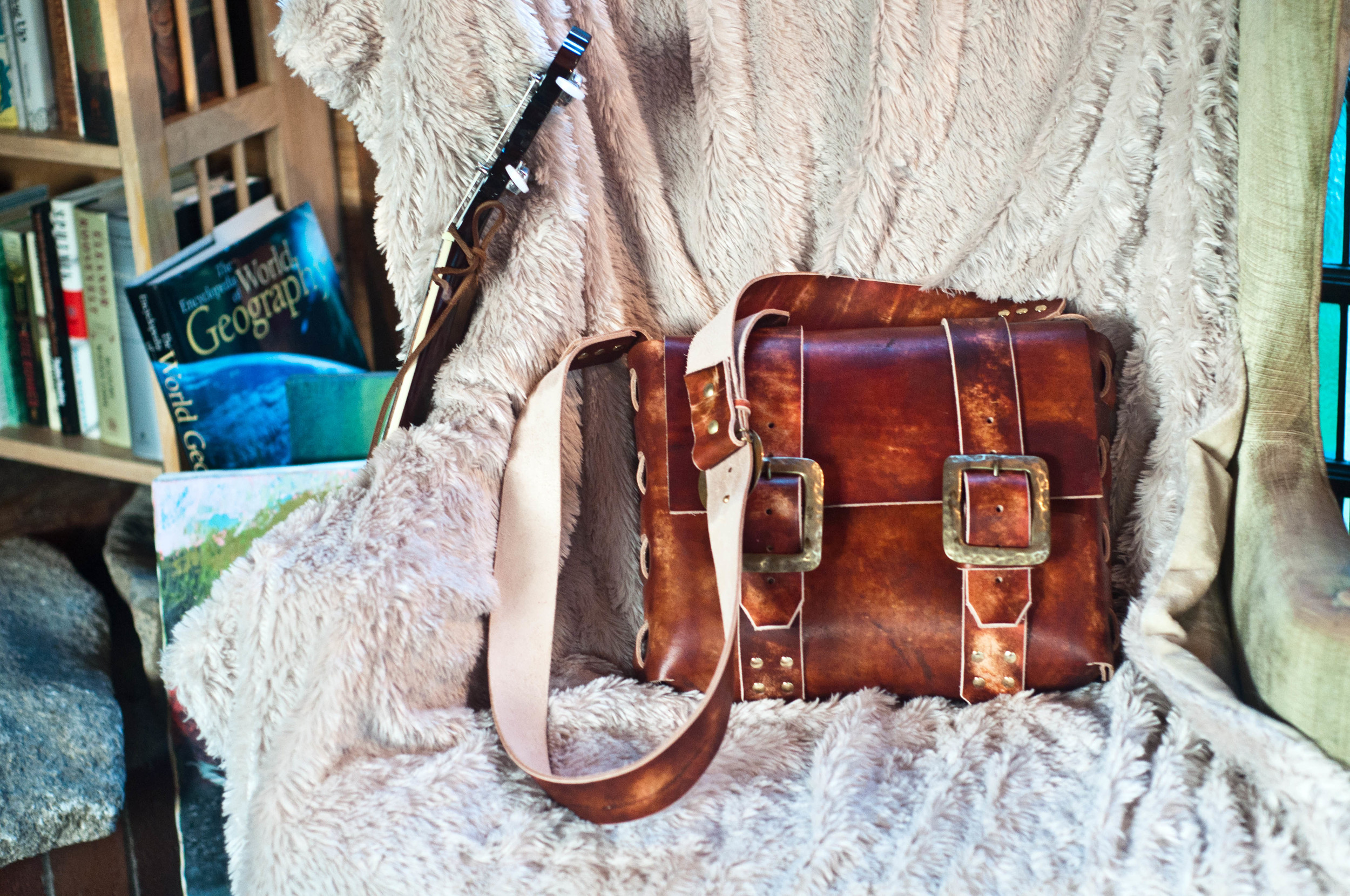 Custom Leather Messenger Bag with Antique Buckles