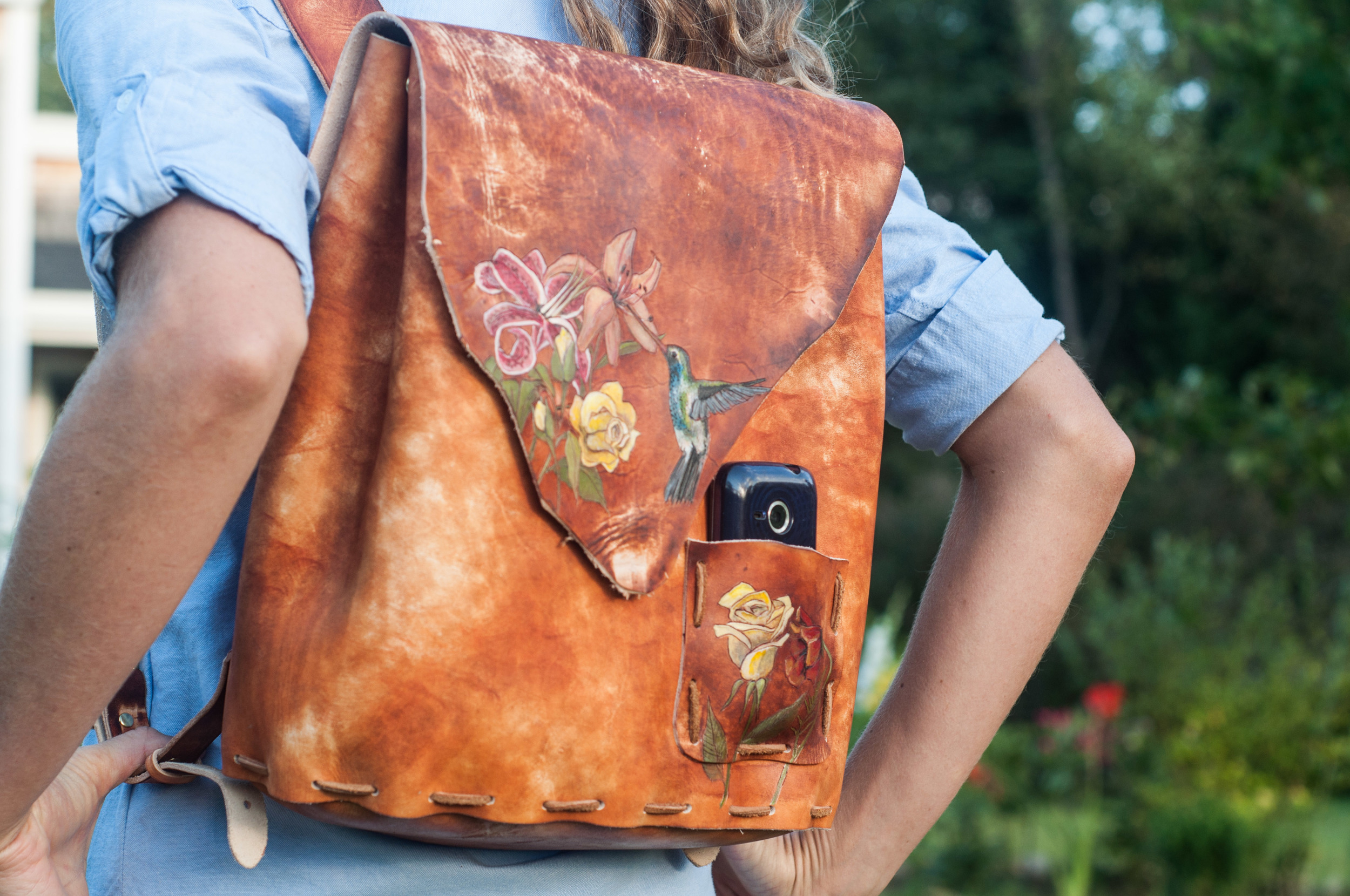 hummingbird and flowers leather backpack